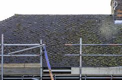 Residential house roof showing the build up of moss on old tiles royalty free stock photos