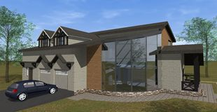 Residential house with side framing. Residential house with a beautiful side framing Stock Images