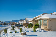 Residential house on winter sunny day decorated for Christmas celebration Royalty Free Stock Photography