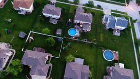 Residential houses from above overhead aerial view Royalty Free Stock Image