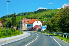 Residential houses along road in street of Maribor in Slovenia. Residential houses along the road in the street of Maribor in Slovenia stock photo