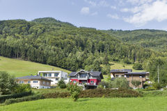 Residential houses in Austrian Alps Stock Photo