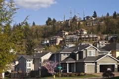 Residential houses on a hill Clackamas Oregon. Residential houses clustered on a hillside in Clackamas Stock Image