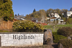 Residential houses on a hill Clackamas Oregon. Residential houses clustered on a hillside in Clackamas Highland hills Oregon Royalty Free Stock Photo