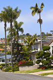 Residential houses on a hillside California. Royalty Free Stock Photos