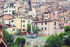 Residential houses in medieval city of Siena. Old residential houses in medieval city of Siena, Italy Royalty Free Stock Photos