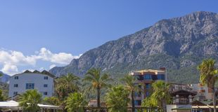Residential houses near the mountains in Kemer town, Turkey Stock Photo
