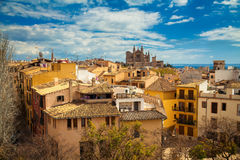 Residential houses and the Palma Cathedral Stock Photography