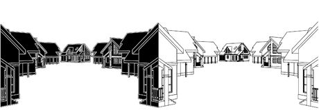Residential Houses In The Settlement Vector 03 Stock Images