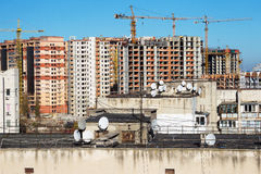 Residential houses under construction in a new city district Royalty Free Stock Photos