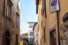 Residential houses in Upper Town of Bergamo city. Travel to Italy - residential houses in Citta Alta (Upper Town) of Bergamo city, Lombardy royalty free stock images