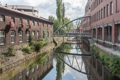 Residential and industrial buildings along the Biala River. In the city of Bielsko Biala royalty free stock photos