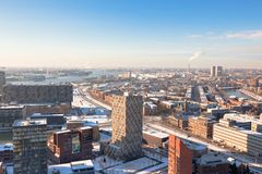 Residential and industrial districts view. Rotterdam residential and industrial districts view. Horizontal shot stock photos