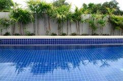 Residential inground swimming pool. In backyard Stock Photo