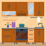 Residential interior of modern kitchen in luxury mansion. House architecture new modern furniture vector illustration. Residential interior of modern kitchen in Royalty Free Stock Images