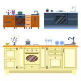 Residential interior of modern kitchen in luxury mansion. House architecture new modern furniture vector illustration. Residential interior of modern kitchen in Stock Images