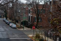 Residential Intersection in Wicker Park Chicago during Winter royalty free stock photo