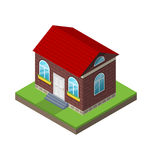 Residential isometric house with grass and ground, isolated Royalty Free Stock Photo
