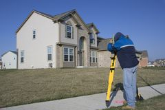 Residential Land Surveying. Working with total station royalty free stock images
