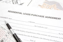 Residential lease or purchase agreement. Paper form Royalty Free Stock Photos