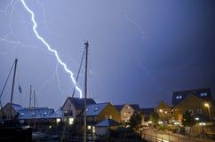 lightning house stock photo