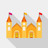 Residential mansion with towers and flags icon Royalty Free Stock Image