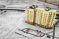 Residential multi-colored houses high-rise buildings. Aerial photography with quadcopter royalty free stock image