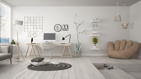 Residential multifunctional loft with home office workplace, sca. Ndinavian minimalist interior design Royalty Free Stock Image