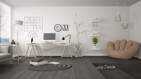 Residential Multifunctional Loft With Home Office Workplace, Scandinavian Minimalist Interior Design Royalty Free Stock Images