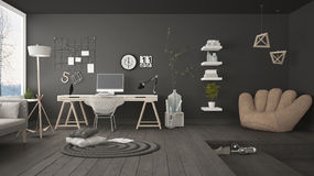 Residential Multifunctional Loft With Home Office Workplace, Scandinavian Minimalist Interior Design Stock Photo