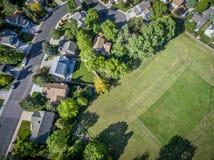 Residential neighborhood aerial veiw Royalty Free Stock Image