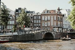 Residential neighborhood in Amsterdam, Netherlands royalty free stock photography