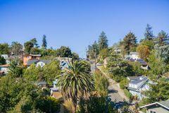 Residential neighborhood area in Oakland, San Francisco bay. Residential neighborhood area in Oakland on a sunny autumn day, San Francisco bay area, California Stock Images