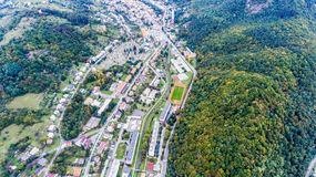 Residential neighborhood and cementery in Banska Bystrica, Slova Royalty Free Stock Images