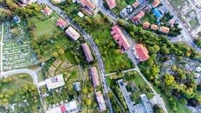 Residential neighborhood and cementery in Banska Bystrica, Slova Stock Photography