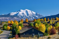 Residential neighborhood in Colorado at autumn. USA. Mount Sopris landscape stock photos