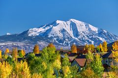 Residential neighborhood in Colorado at autumn. USA. Mount Sopris landscape stock photography