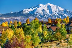 Residential neighborhood in Colorado at autumn. USA. Mount Sopris landscape royalty free stock image