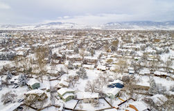 Residential neighborhood in winter scenery - aerial view Stock Photo