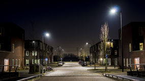 Residential night scene. Night scene of a new district in the city of Amsterdam Stock Image