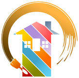 Residential painting logo. Isolated illustrated residential logo design Stock Images