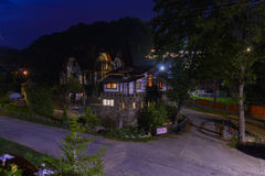 Residential private house in a mountain village. At night Royalty Free Stock Image