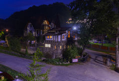 Residential private house in a mountain village. At night Royalty Free Stock Photography
