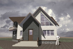 Residential Private House. A small modest architecture Stock Images