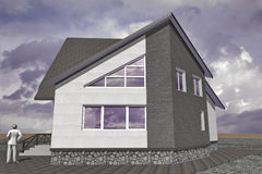 Residential Private House. A small modest architecture Royalty Free Stock Images