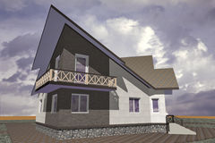 Residential Private House. A small modest architecture Stock Photo