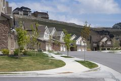 Residential Road. Beautiful homes on a quiet residential culdesac Stock Photography