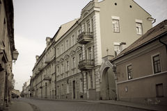 Residential road in Lithuania. Residential street in Lithuania with old, affluent homes lining road Stock Photos