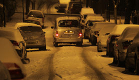 Residential road in winter Royalty Free Stock Images