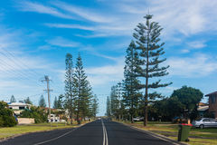 A residential road in Yamba, Australia Royalty Free Stock Images